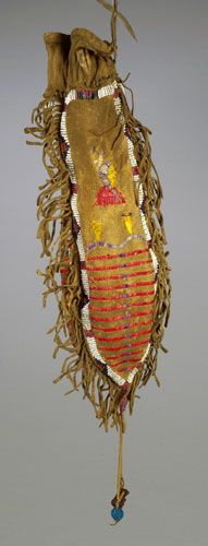 Sioux Quilled and Beaded Three-Sided Hide Pouch, ca 1895.