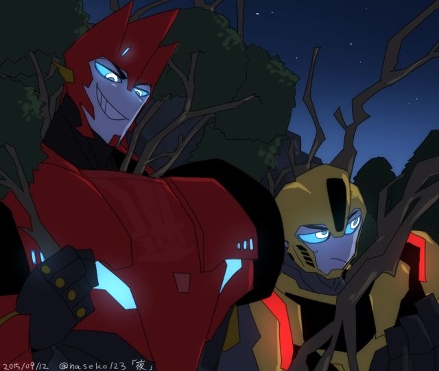 Bumblebee and Sideswipe disguise as forest yokai to teach those