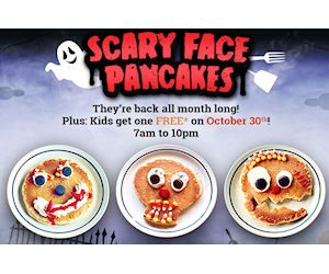 Don't forget this Friday, October 30th, that all kids 12 & under get a free Scary Face Pancake between 7am and 10pm. At participating IHOP locations only. http://ifreesamples.com/dont-forget-free-scarey-face-pancakes-1030/