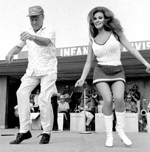 Bob Hope and Raquel Welch entertaining troops in Vietnam, .1967.