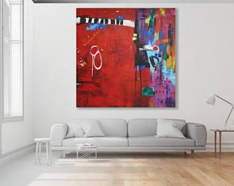 Colorful Painting / Modern Art / Red Abstract Art / Large Colorful Painting / XL Colorful Abstract Painting / Original Art / Red Art
