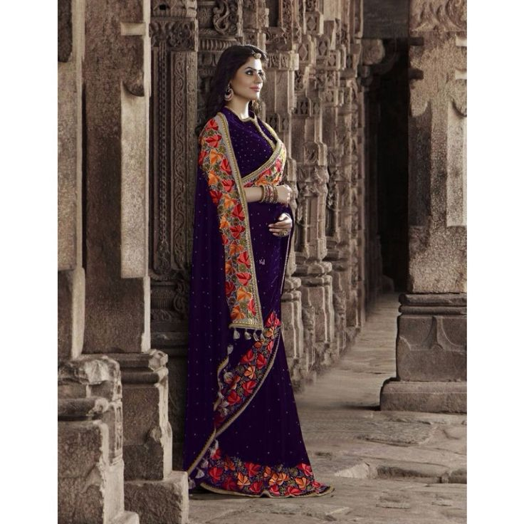 Purple Velvet Designer #Saree With Blouse- $160.01