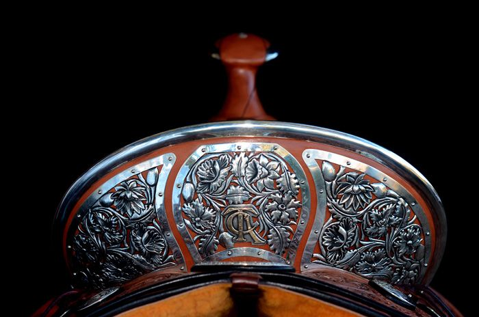 Beautiful Silver work with TCA logo on cantle by Western Saddle Maker Pedro Pedrini.
