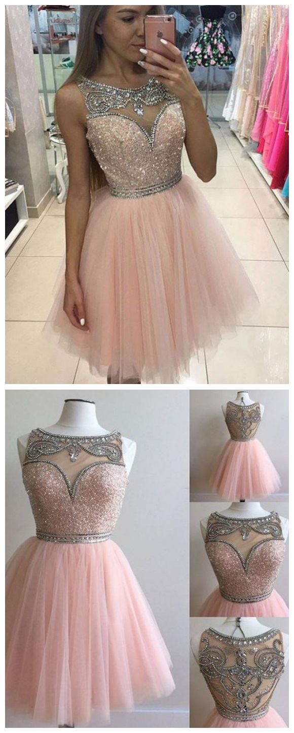 Blush pink homecoming dresses rhinestone beaded tulle short prom