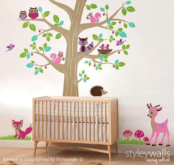 Bos dieren en boom muur sticker, bos dieren boom muur sticker, herten Bambi uilen Hedgehog eekhoorns Fox muur sticker kinderkamer babyruimte