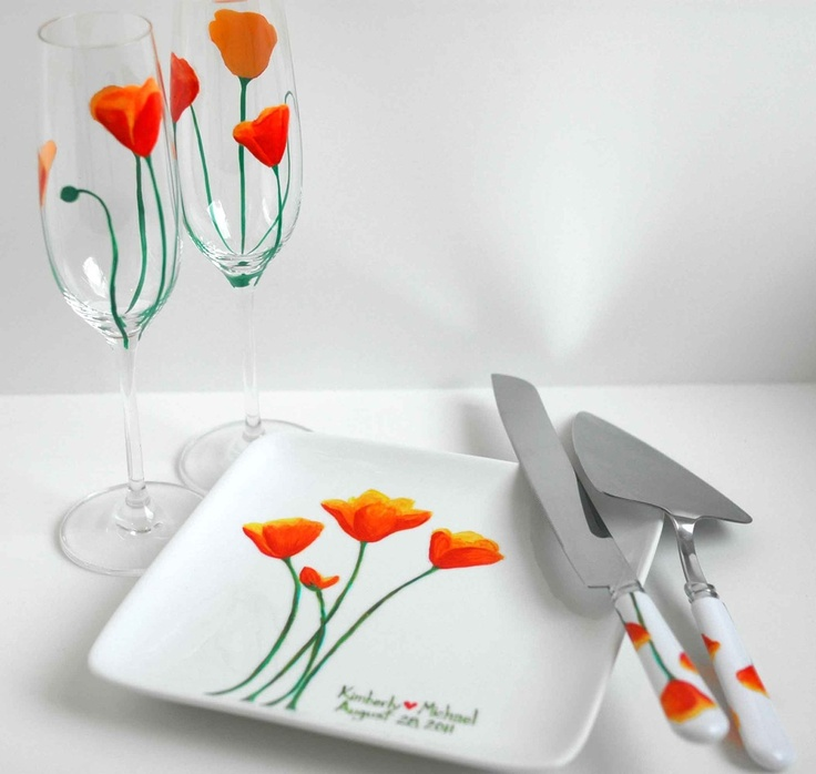 California Poppy Wedding Toast and Cake serving 5-piece collection