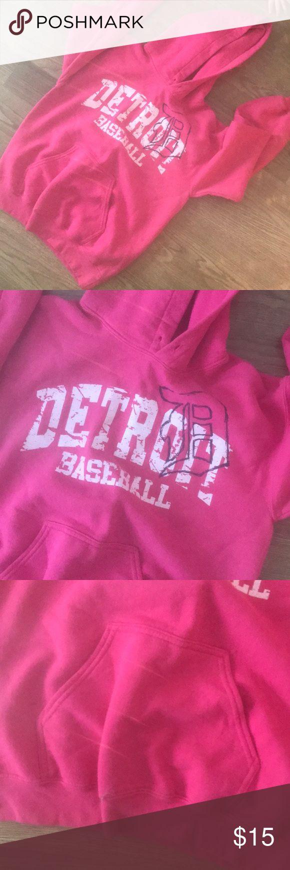 Detroit Tigers Hoodie Comfy pink Detroit baseball hoodie. Good condition just missing strings in hood. Tops Sweatshirts & Hoodies