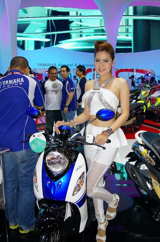 Motorbike with sexy presenter at the 34th Bangkok International Motor Show