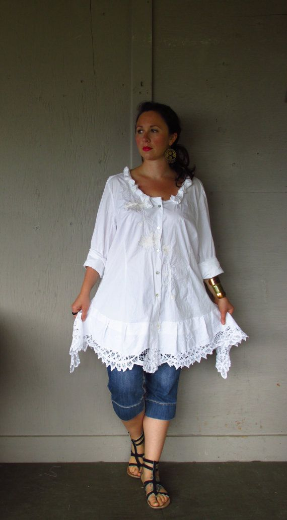 Romantic Bohemian tunic/upcycled clothing/Lagenlook top/repurposed tattered vintage lace shirt/summer cowgirl wedding jacket 3X