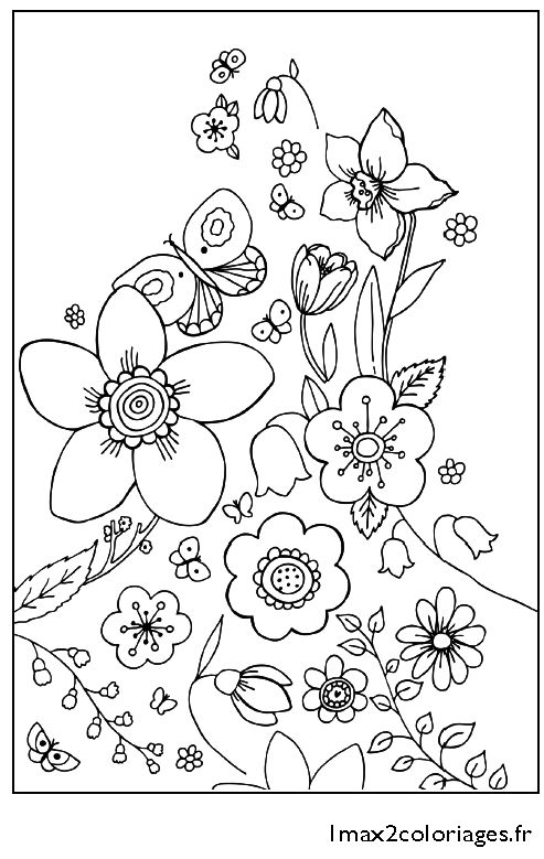 Fleurs de printemps embroidery motifs only for inspiration spring coloring pages flower - Image du printemps a colorier ...