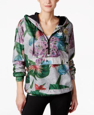 adidas Originals Floral-Print Half-Zip Windbreaker