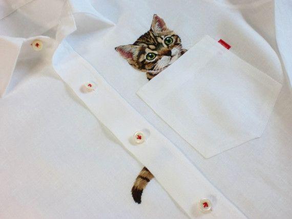 Hiroko Kubota's gorgeous cat embroider, with extra tail!