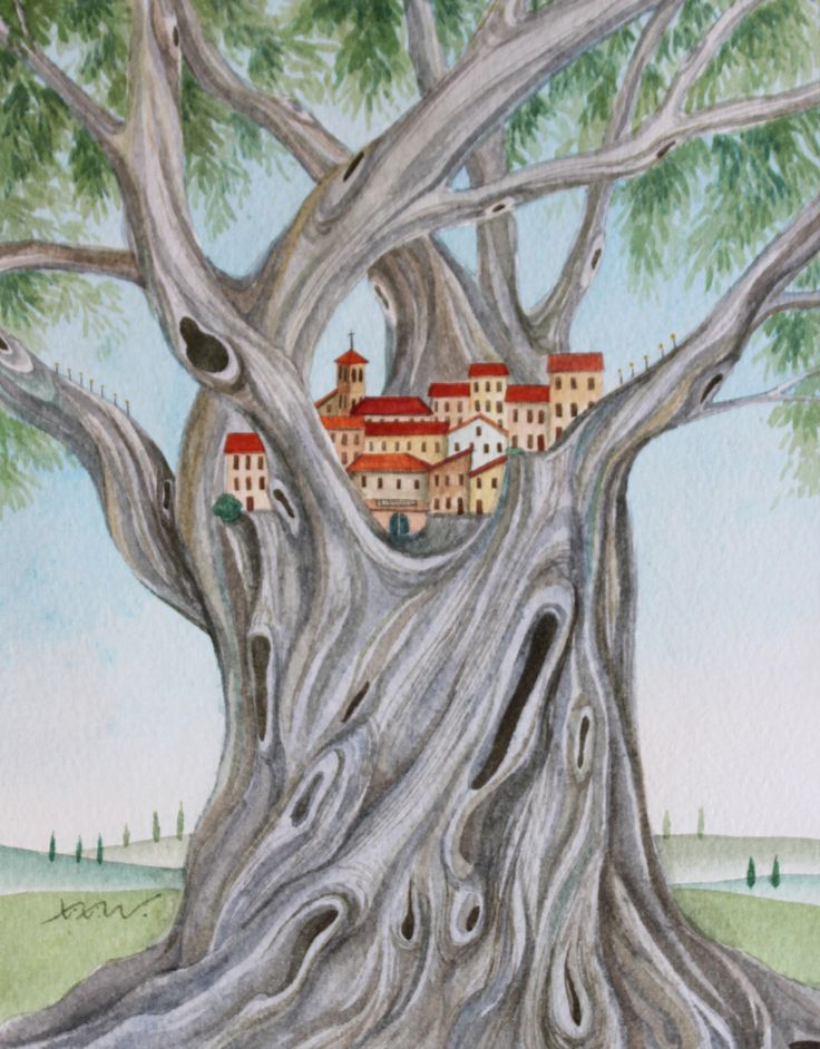 Olive Tree in Tuscany - Watercolor - Painted by Xixi Wang (2014)