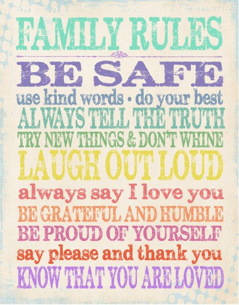 Family Rules. Would love to modernise this and hang it in our home.