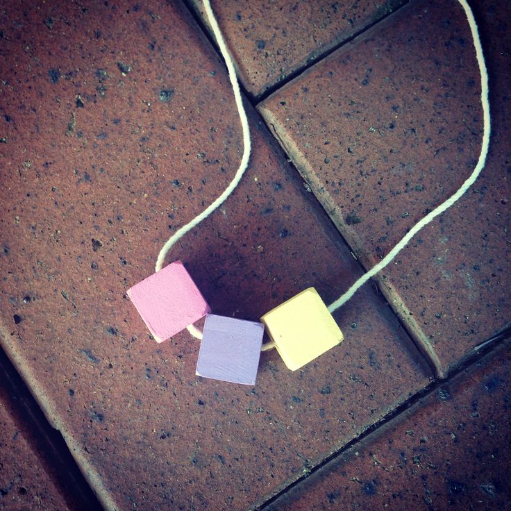 #wood #handmade #necklace #square #pastels #pink #purple #yellow