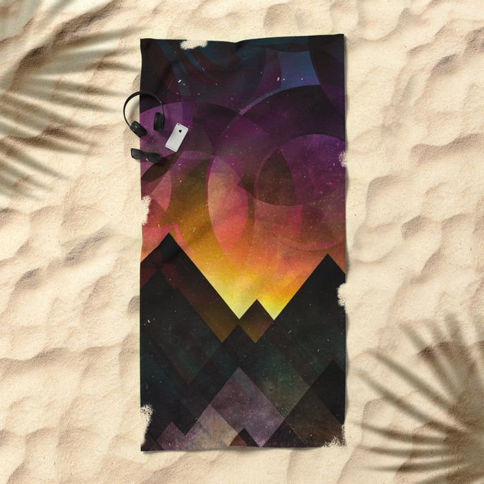 Whimsical mountain nights Beach Towel by HappyMelvin | Society6