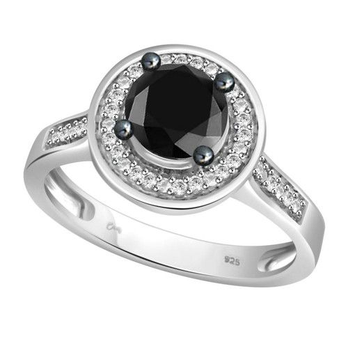 1 00 ct Black White Real Natural Genuine Diamond Solitaire Engagement…
