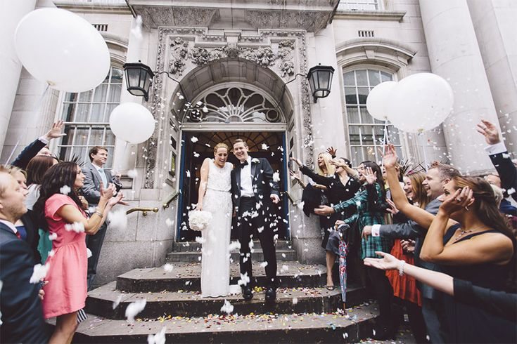 white balloons adding another height to confetti shot like lanterns