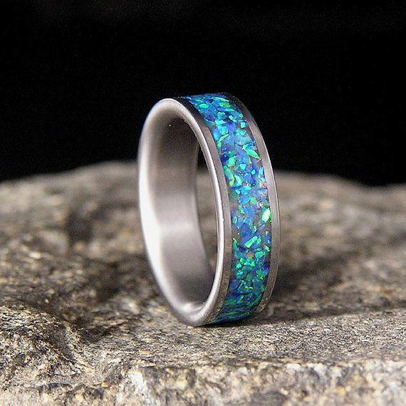 Titanium Wedding Band or Ring Ocean Blue Lab Opal Chips Inlay