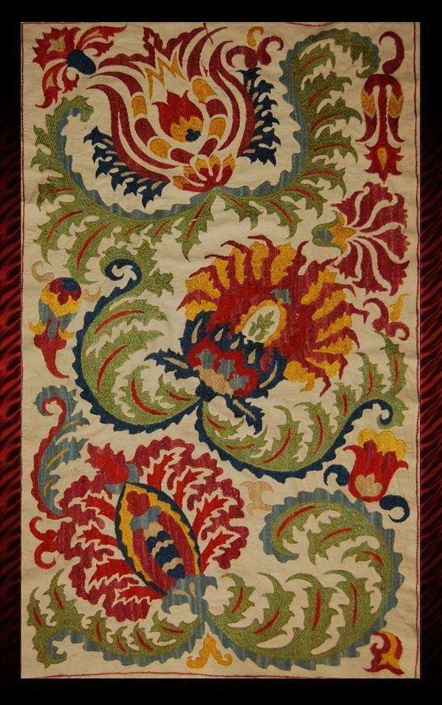 Uzbek Silk Handmade Embroidery Small Blossoms Suzani | eBay
