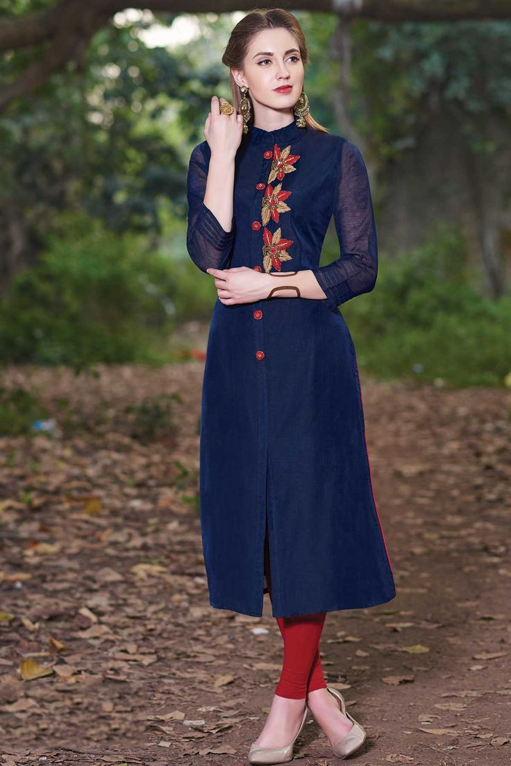 Samyakk Blue Georgette Embroidered Front Cut Kurti