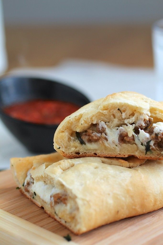 Goat Cheese, Basil and Italian Sausage Calzones - with fresh mozzarella