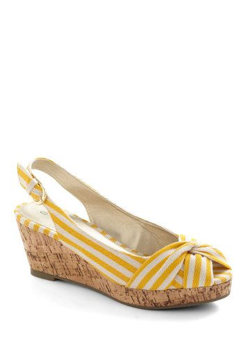 Seaside Snack Wedge in Lemon - Yellow, White, Stripes, Wedge, Peep Toe, Slingback, Mid, Beach/Resort, Nautical, Variation