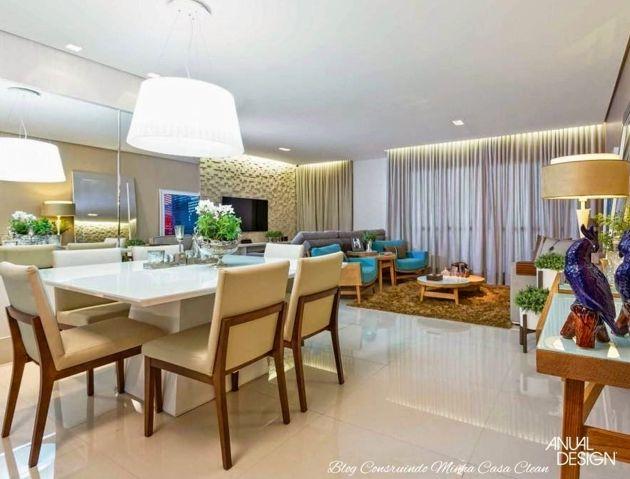 65 salas de jantar e estar integradas veja dicas e qual for Salas pequenas e modernas