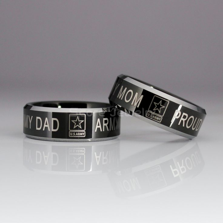 """2 Piece Set 8mm Tungsten Bands with Beveled Edge US Army """"Army Dad & Proud Army Mom"""" Laser Engraved - 8mm Tungsten Rings by ScoreCustomJewelry on Etsy"""