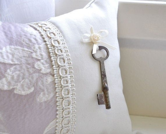 Lavender skeleton key pillow by lisawinestudios on Etsy
