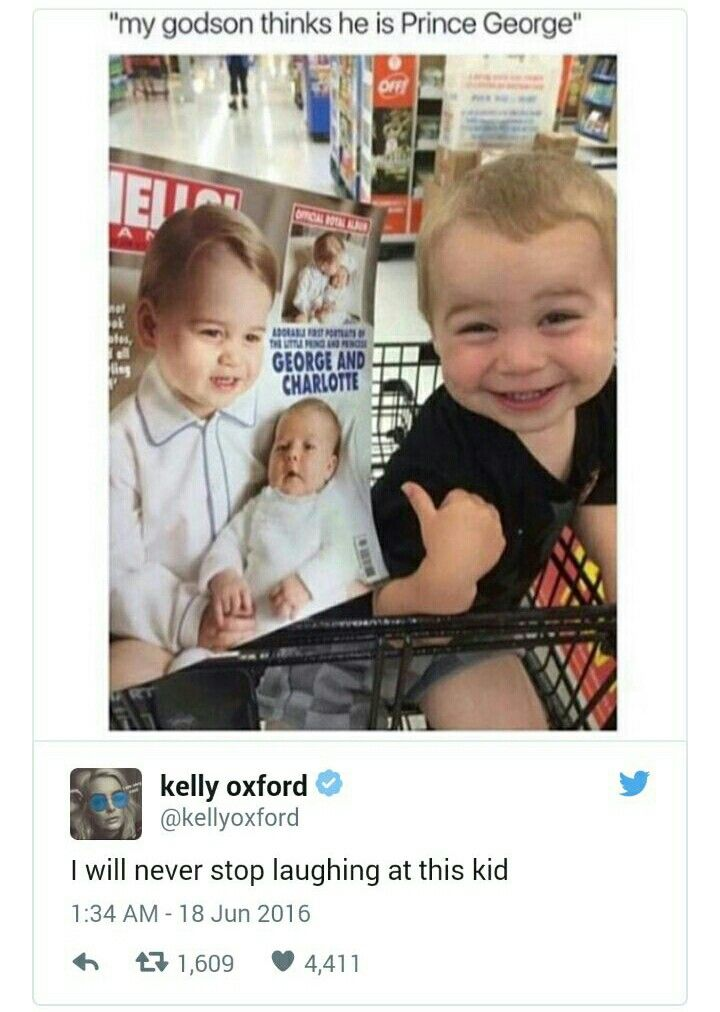 This is funny.  Apparently this little Prince George look-alike thinks these photos were taken of him.