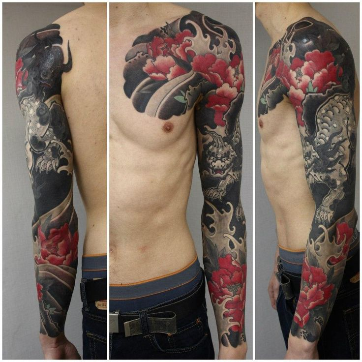 Black Demon japanese sleeve tattoo