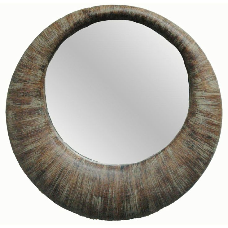 This beautiful round contemporary framed mirror resembles a hoop earring in a weathered bamboo finish. This gorgeous mirror is sure to update your home and become your favorite decor piece.