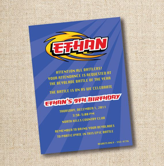 Beyblade birthday party invitation custom by lilygirlpaper on Etsy, $10.00