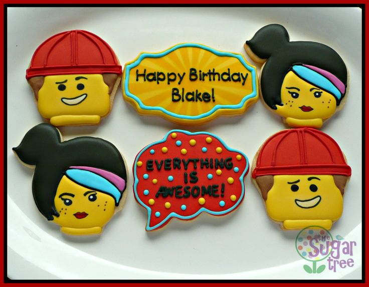 Lego Movie decorated cookies #lego #emmet #wyldstyle