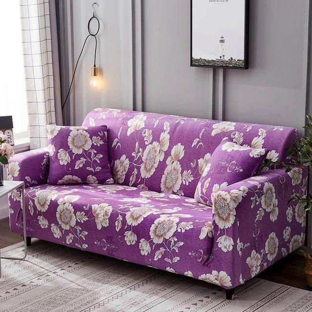 Lovely Purple Flower Stretch Sofa Slip Cover In 2020 Slipcovers