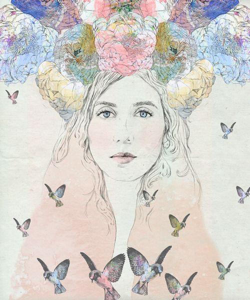 Drawing // art // illustration // girl // flower