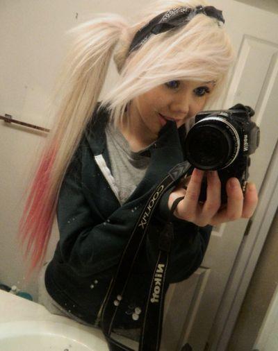 blonde scene hair on Tumblr