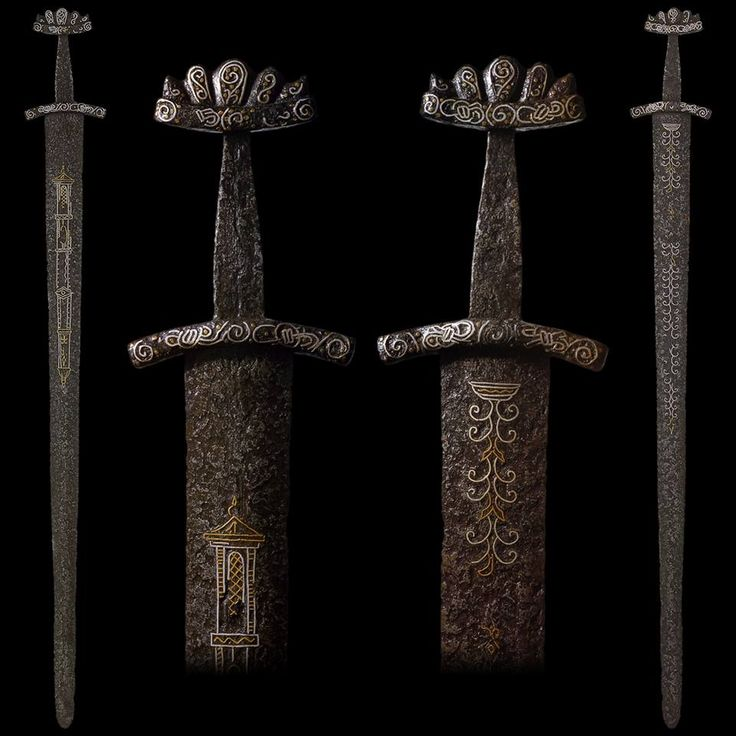 "myArmoury.com An Exceptional Viking Sword with Gold and Silver Inlaid Blade and Hilt, early 10th century  Overall length: 94 cm (37""); Blade length: 80.6 cm (31.75"")"