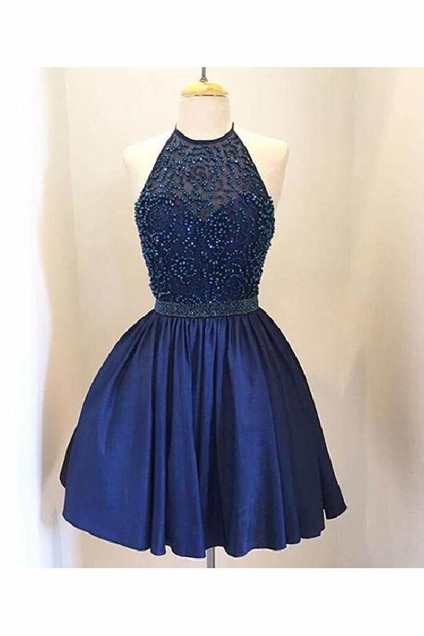 Blue Short Homecoming Dresses with Straps Under 40