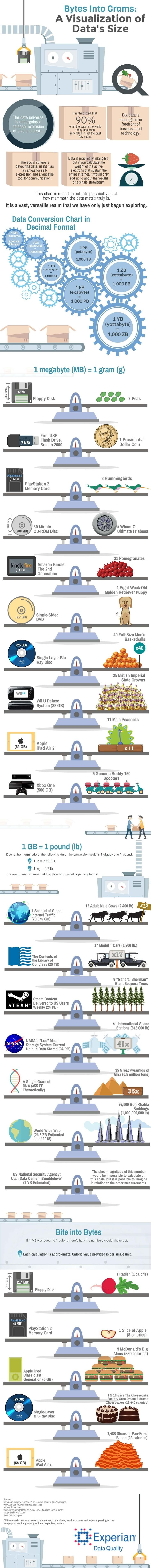 ShareDiscover new TIPS! Discover new TIPS! Published by: Experian Original source: here TIPS FOR: technology, coding, programming, computer science, computing, informatics, big data, humor, funny, geek, data devices, data size, data size chart, data size units, megabyte, kilobyte, gigabyte, terabyte, petabyte, exabyte, zettabyte, yottabyte, bytes into grams, bytes into pounds, bytes into calories, data size Read More »