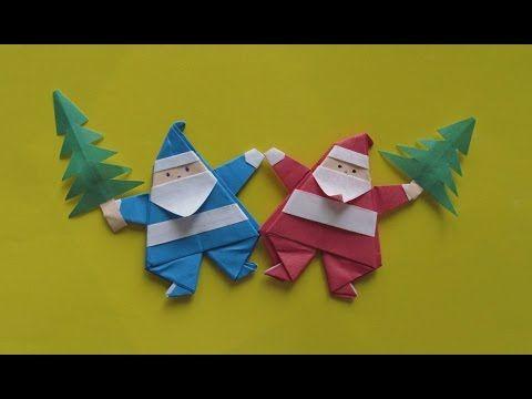 ОРИГАМИ ДЕД МОРОЗ (магнит) Новогодняя Поделка из Бумаги Своими Руками для Начинающих. - YouTube