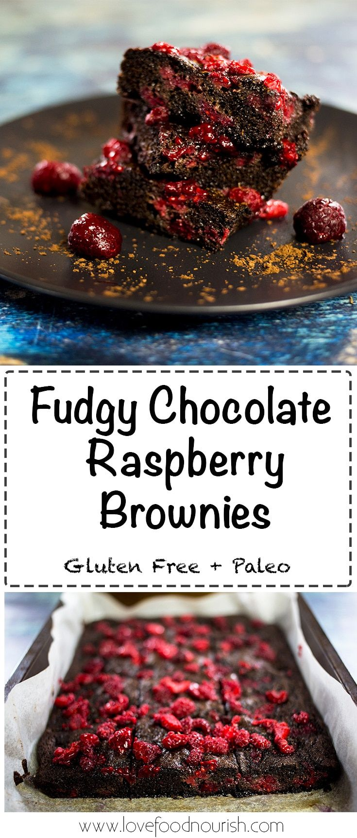 Chocolate Raspberry Brownies (Gluten Free & Paleo) - These fudgy, moist, chocolatey brownies are everything you ever wanted in a brownie. The chocolatey goodness goes perfectly against the sharpness of the raspberries. #glutenfree #paleo #glutenfreebrownie #paleobrownie #paleodessert #glutenfreedessert #chocolatebrownie #raspberries #brownies