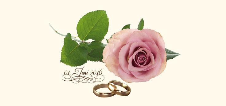 Seite 2 der Hochzeitseinladungskarte: Eine Rose und Eheringe als Sinnbild für Ihre Liebe – klassisch, romantisch und elegant. Schöner geht's nicht. Selbstverständlich ist auch eine andere Farbkombination dieser Karte möglich.