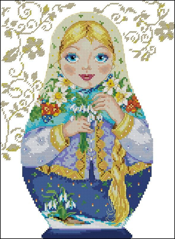 point de croix femme russe saison printemps - cross stitch russian girl season spring
