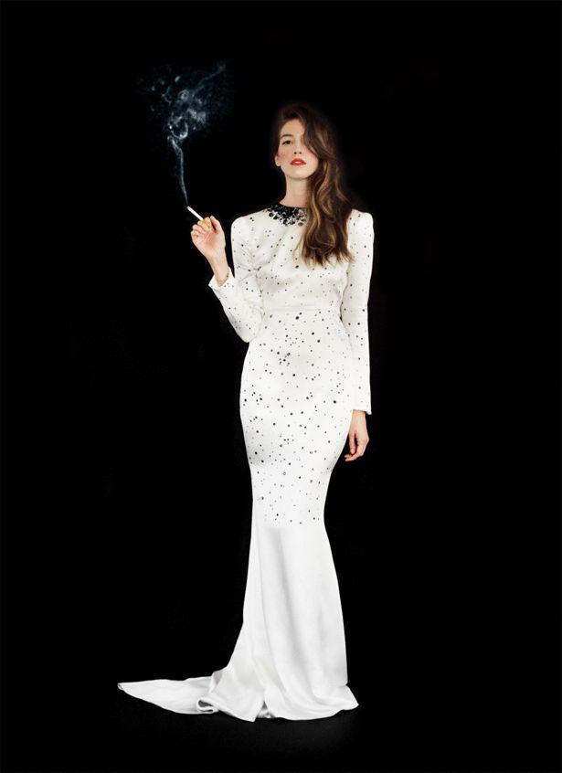 Smoke girl white gif real