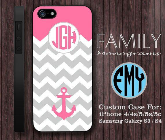 pink chevron anchor monogram hard plastic case by familymonogram, $15.99