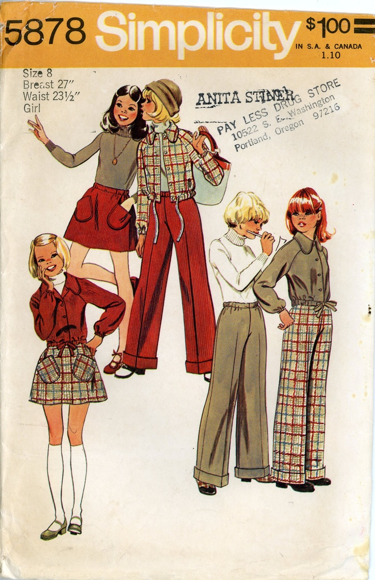 Vintage 1970s PATTERN for Girls size 8 Simplicity 5878