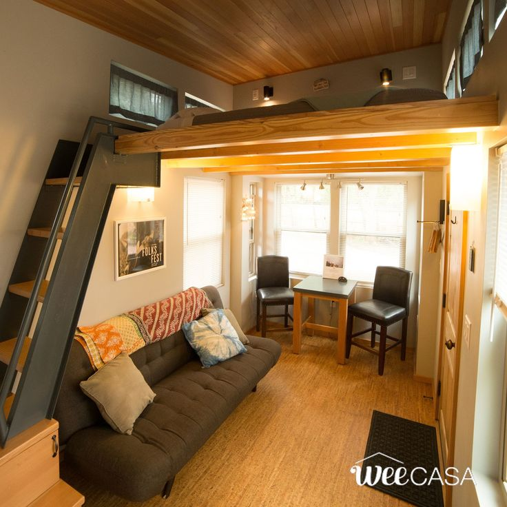 The Salida: a two bedroom tiny house that can comfortably sleep up to five people in just 204-sq-ft of space! Available for rent at the WeeCasa Tiny House Resort in Colorado!