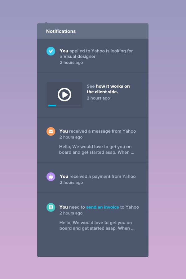 Juiiicy Notification Center design by Julien Renvoye
